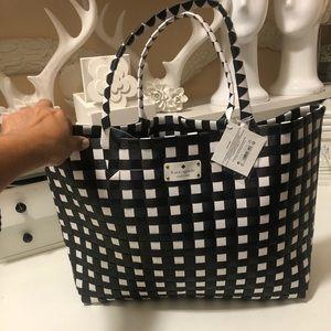 Kate spade black and white beach tote bag